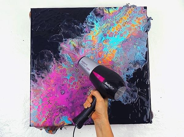 acrylic pouring technik airswipe
