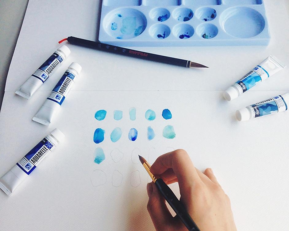 aquarell blau