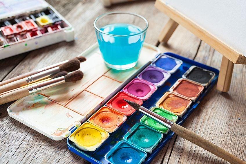 watercolor paints on canvas