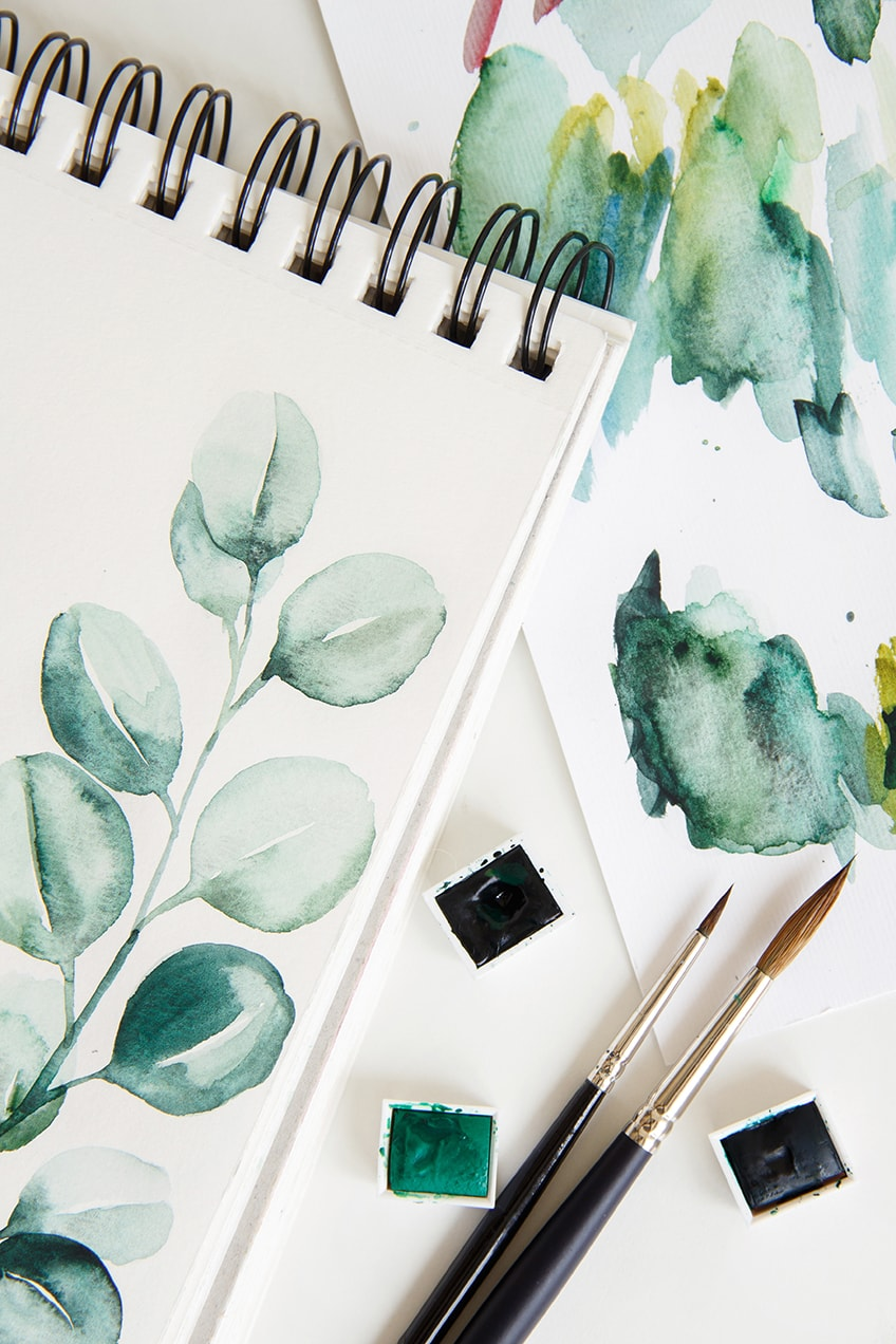watercolor pad and paper
